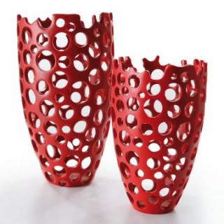 Avanity Kokoware Nari Mesh Accent Vase   Red   Table Vases at