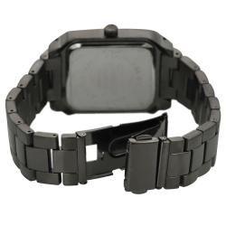 Geneva Platinum Mens Rhinestone accented Silicone Watch
