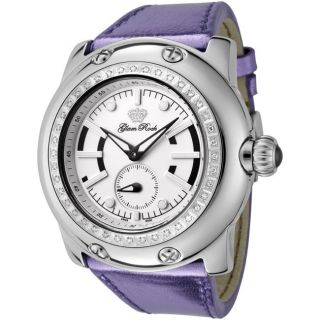 Glam Rock Womens Miami Metallic Purple Leather White Diamond Watch
