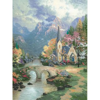 Thomas Kinkade Mountain Chapel Embellished Cross Stitch Kit Today: $22