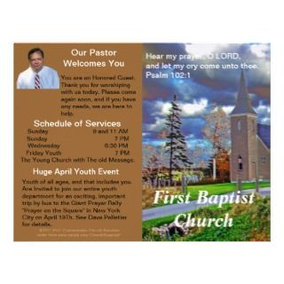 Customizable Weekly Church Bulletin (Outside Only) Letterhead Design