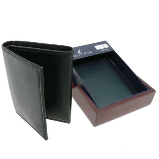 Nautica Black Tri fold Wallet with Wooden Gift Box