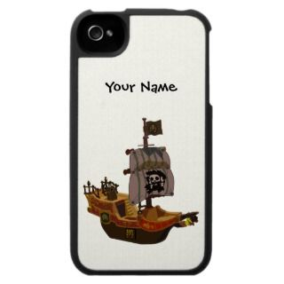 Jolly Roger Pirate Ship Skull Flag iPhone 4 Case