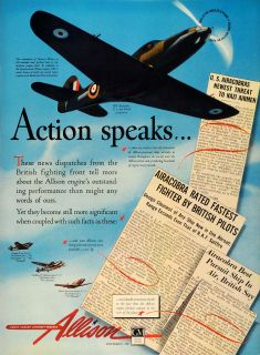 1942 Ad Allison Aircraft Engines WWII Military Airplanes Lockheed
