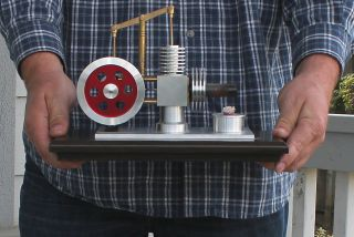 Vintage Brass Aluminum Hot Air Stirling Engine Similar to Steam