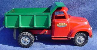 Vintage 1950s Tonka Toys Dump Truck Pressed Steel Red Green