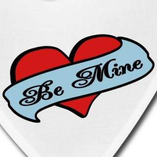 White Be Mine Heart Banner Tattoo Other