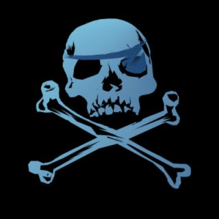 Blue Pirate Skull and Crossbones. Hoodie 8048937
