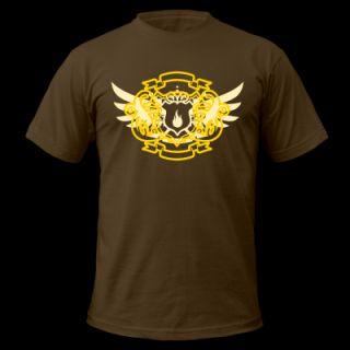 Brown Pyro Maniac & Sword Crest Flex Print T Shirts T Shirt