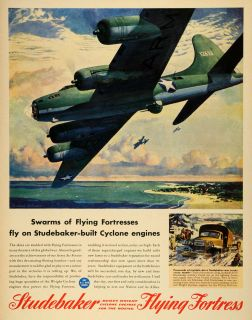 Flying Fortress Cyclone Military Aircraft Engine WWII Wartime