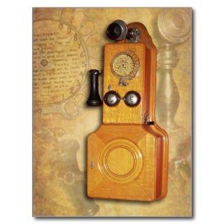 Antikes hölzernes Wandtelefon Postkarte