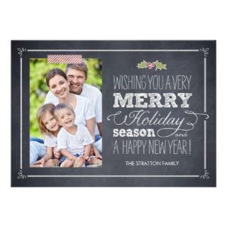Stilvoll geweißte Feiertags Foto Karten Personalisierte